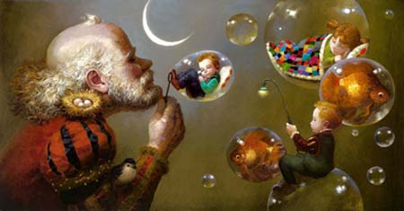 Grandpa Blowing Bubbles