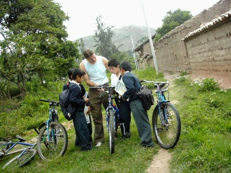 Jordan w Students in Peru