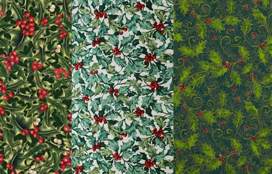 sample of christmas leafy fabric