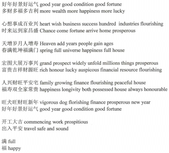 examples of chun lian with english translation