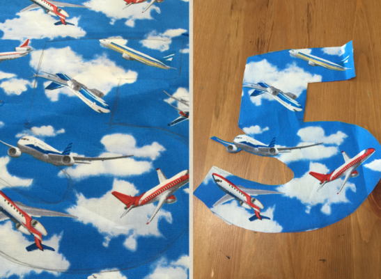 patched number-airplane fabric copy